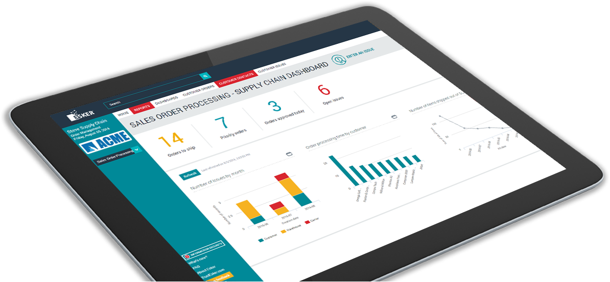 Automated supply chain dashboard tablet screen