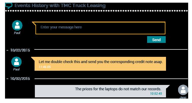 Customer portal chat window interface