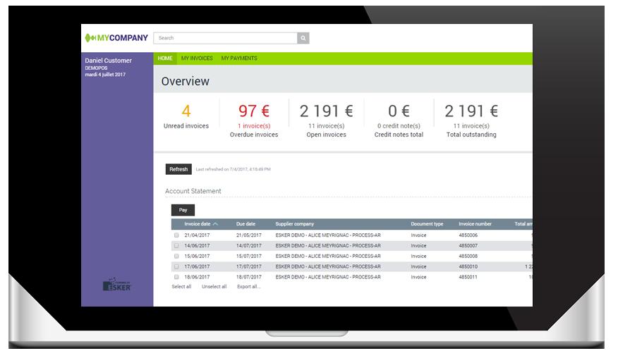 Customise portal interface dashboard screen