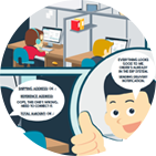 Issue management cartoon infographic
