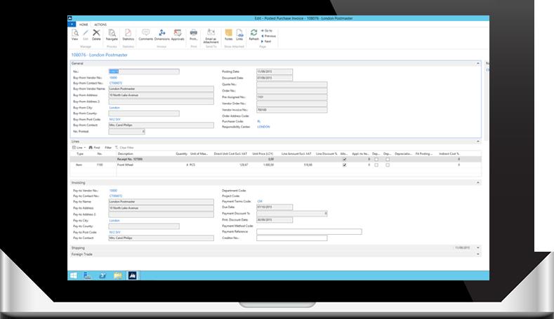 MS Dynamics NAV workflow laptop dashboard screenshot