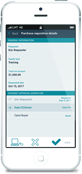 Automated approval workflow mobile screen
