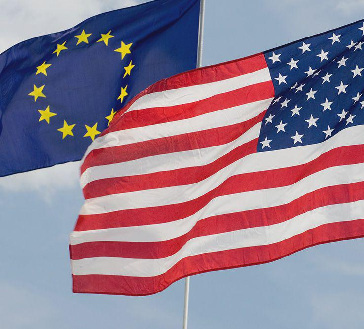 Protecting personal data EU and US flags