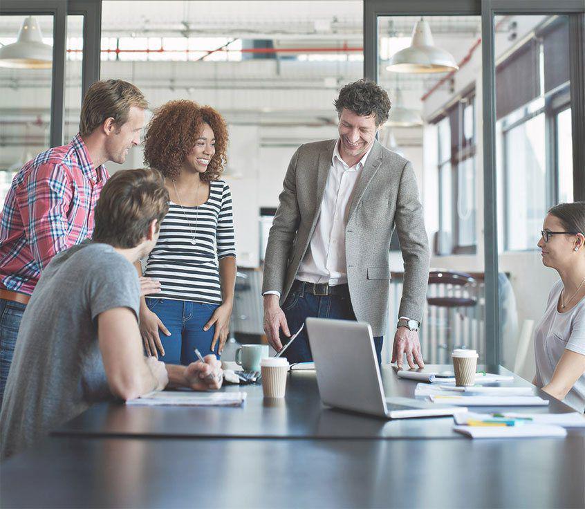 Customer service team meeting
