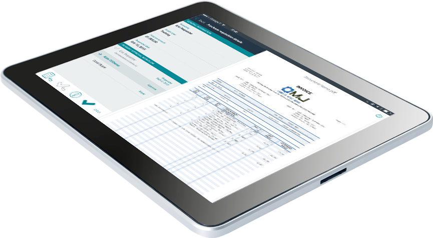 Approve multiple pending invoices at once tablet screen